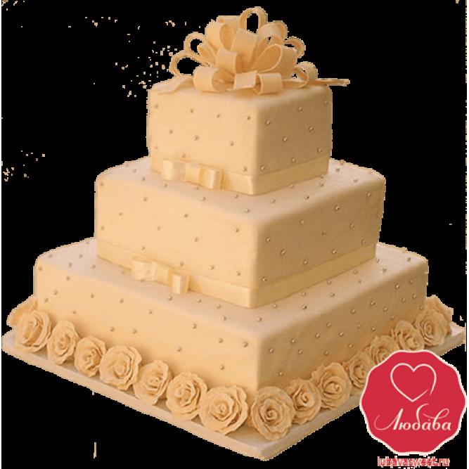 Торт свадебный бежевый №735