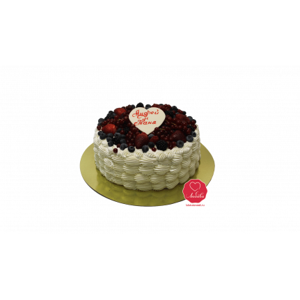Торт Ягоды со сливками и сердцем №1098