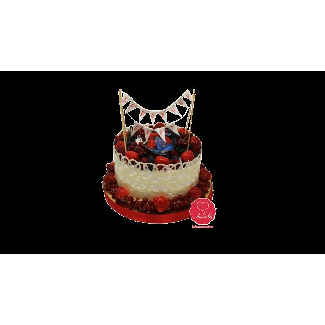 Торт Ягодный с бабочками №1020
