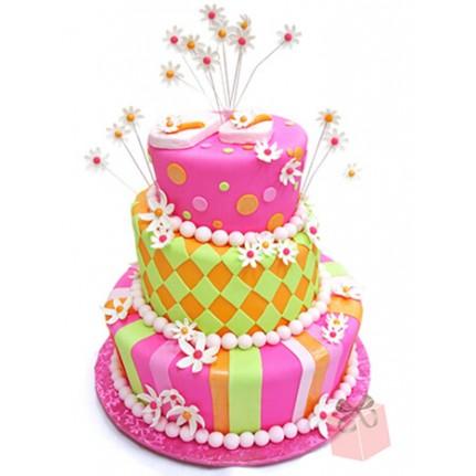Торт на День рождения с ромашками №778