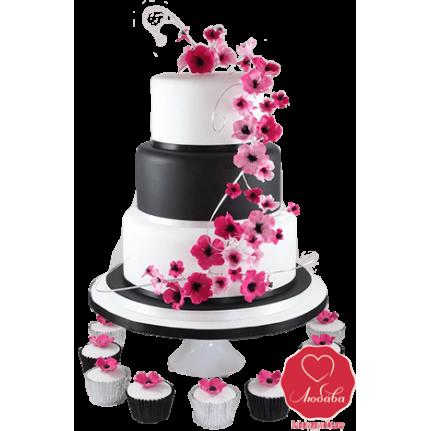 Торт свадебный черно-белый с цветами №728