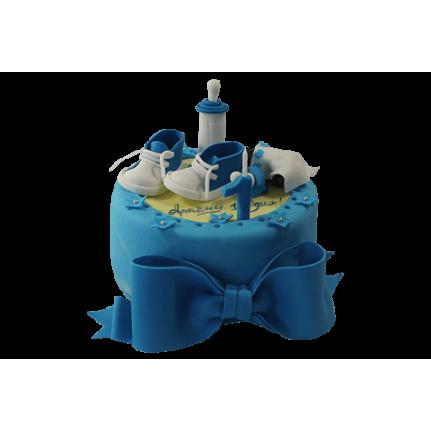Торт с синим бантом и пинетками №520