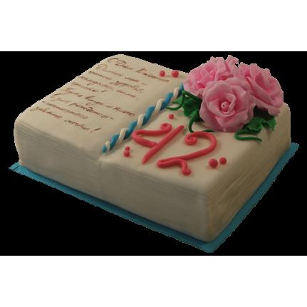 Торт Книга с красными розами №466