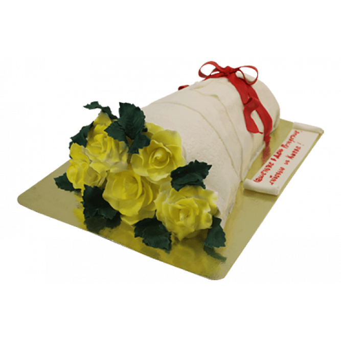 Торт Букет из желтых роз №445
