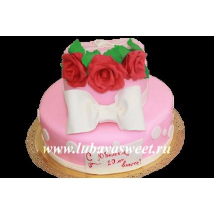 Торт бант и розы №209