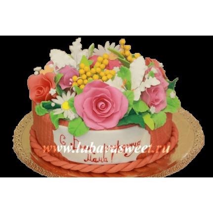 Торт корзина с цветами №201
