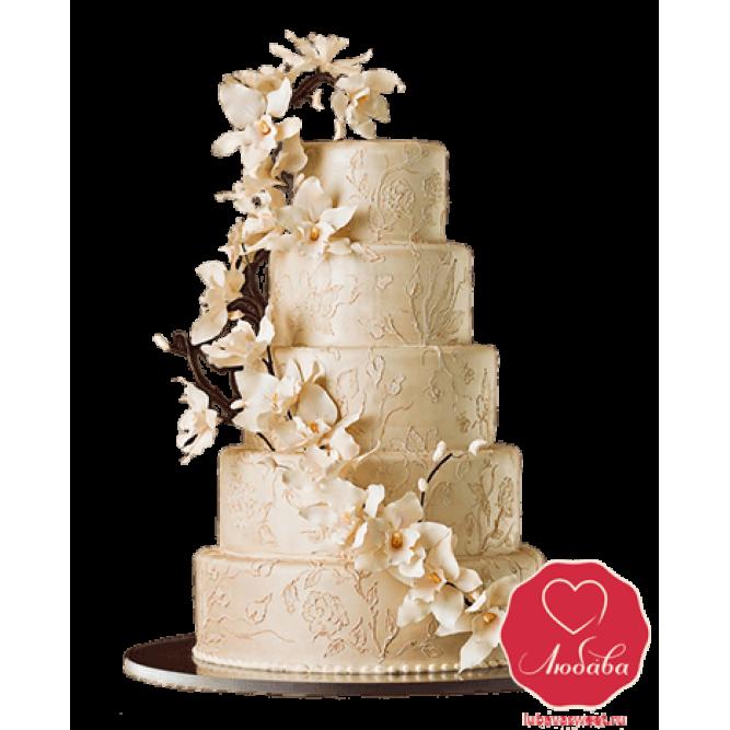 Торт свадебный Ветка с цветами №723