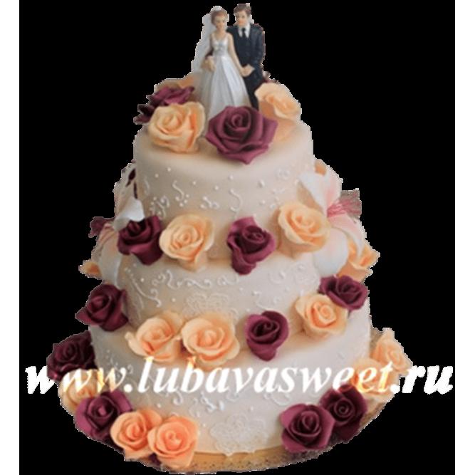 Торт свадебный Пара в розах №269