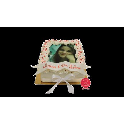 Торт с фотографией в сливочной рамке №1121