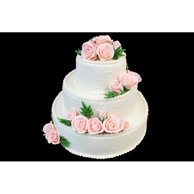Торт свадебный Нежные розы №372