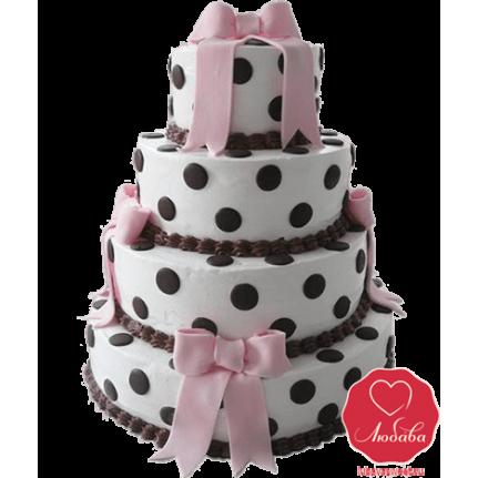 Торт свадебный в горошек №750