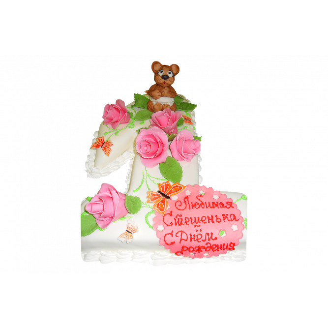 Торт Мишка и розы №364