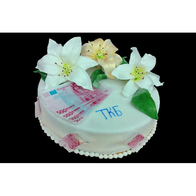 Торт Евро и лилии №322