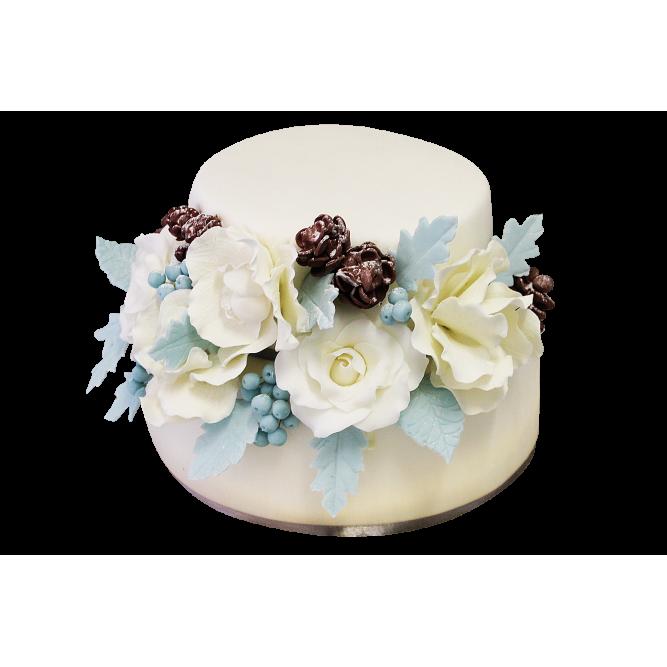 Торт праздничный с цветами №169