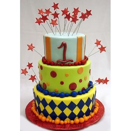 Детский торт на один годик Фейерверк №814