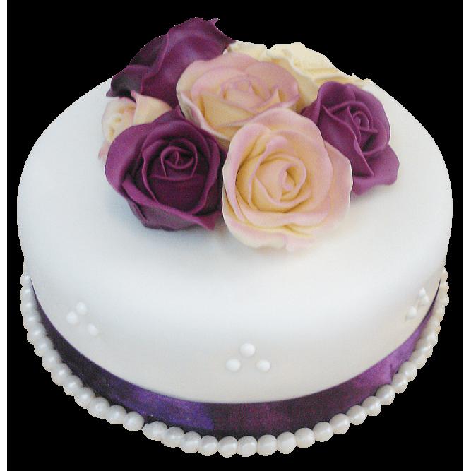Торт С цветами фиолетовых роз №419