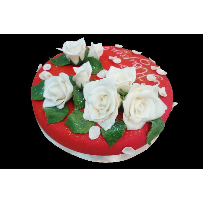 Торт С цветами белых роз №418