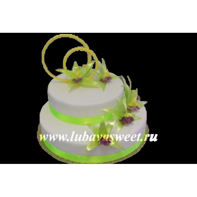 Торт свадебный цветы с кольцами №275