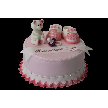 Торт Для девочки пинетки и белый мишка №455