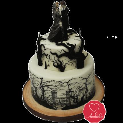 Торт свадебный в готическом стиле №1015