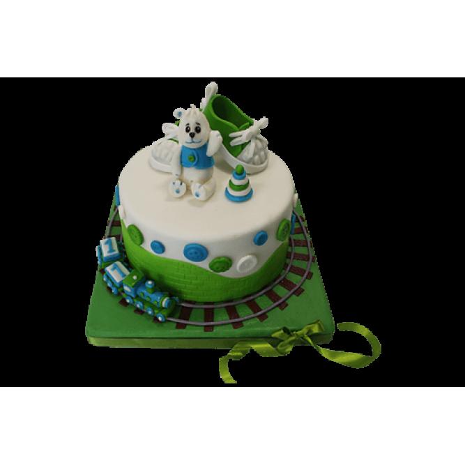 Торт с Зелёными пинетками и паровозиком №518