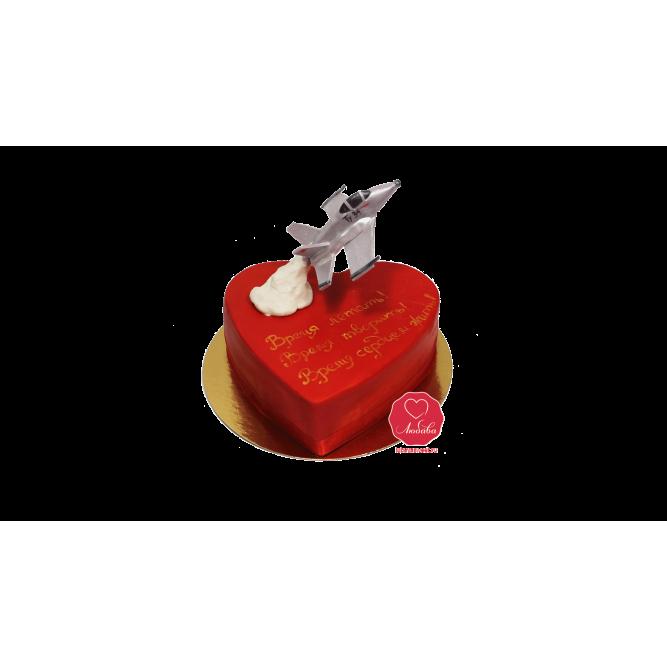 Торт Сердце с самолетом №1117