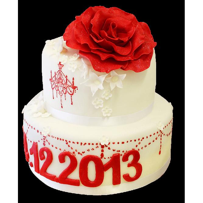 Торт праздничный с розой №146