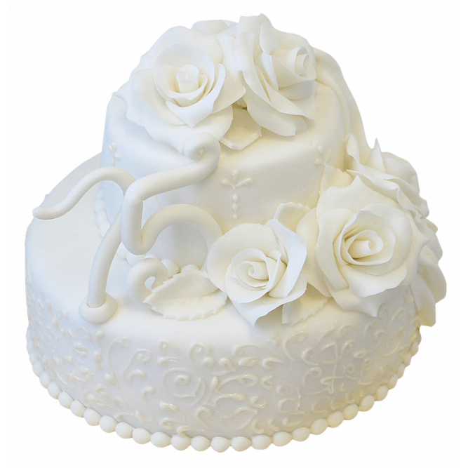 Торт на Юбилей с белыми цветами №166