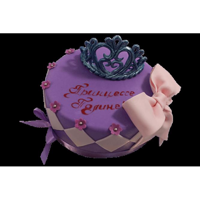 Торт Корона и розовый бант №550