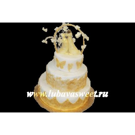 Торт свадебный влюбленные кошки №224