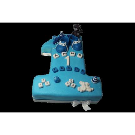 Торт Для мальчика пинетки и бурый мишка №456