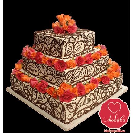 Торт с оранжевыми цветами №726