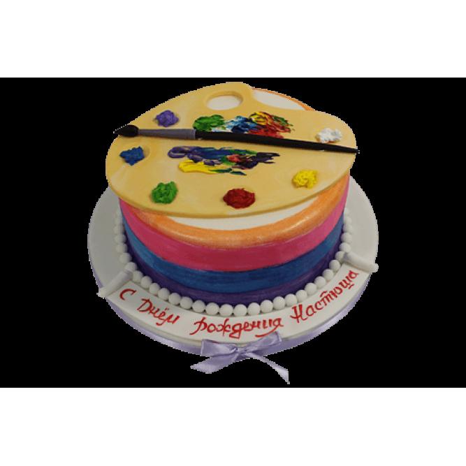 Торт Палитра с красками и кистью №566