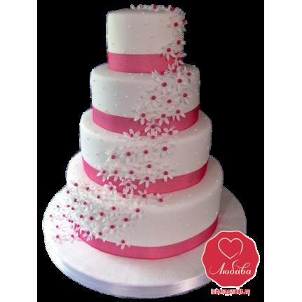 Торт свадебный бело-розовый №800