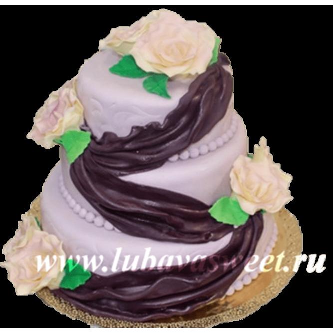 Торт праздничный розовые розы №199