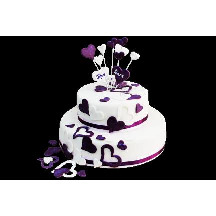 Торт праздничный фиолетовые сердца №214