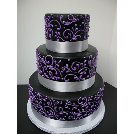 Торт свадебный с фиолетовым узором №729