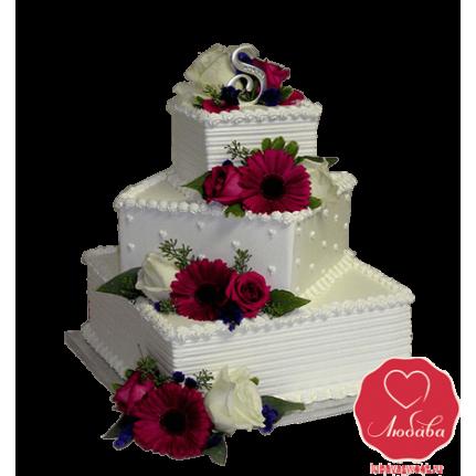 Торт свадебный Пирамида с цветами №724