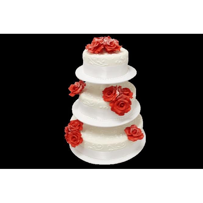 Торт свадебный с красными розами №403