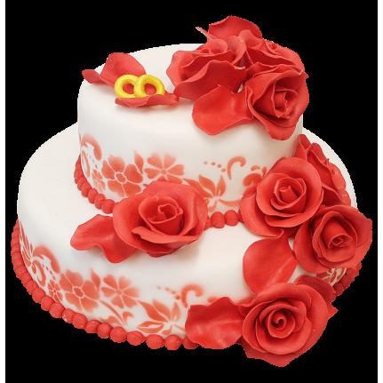 Торт свадебный Красные розы №172