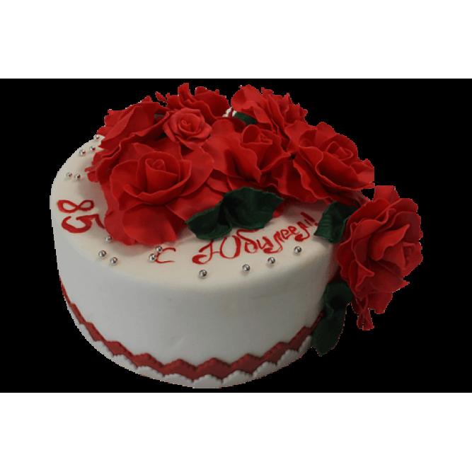Торт с Красными розами на юбилей №519