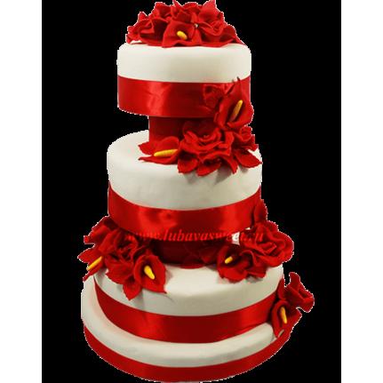 Торт свадебный Красно-белый с цветами №703