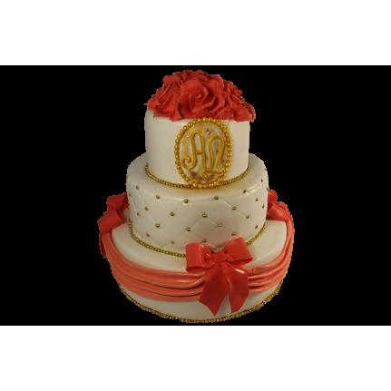 Торт свадебный многоярусный с красными розами и бантами №573