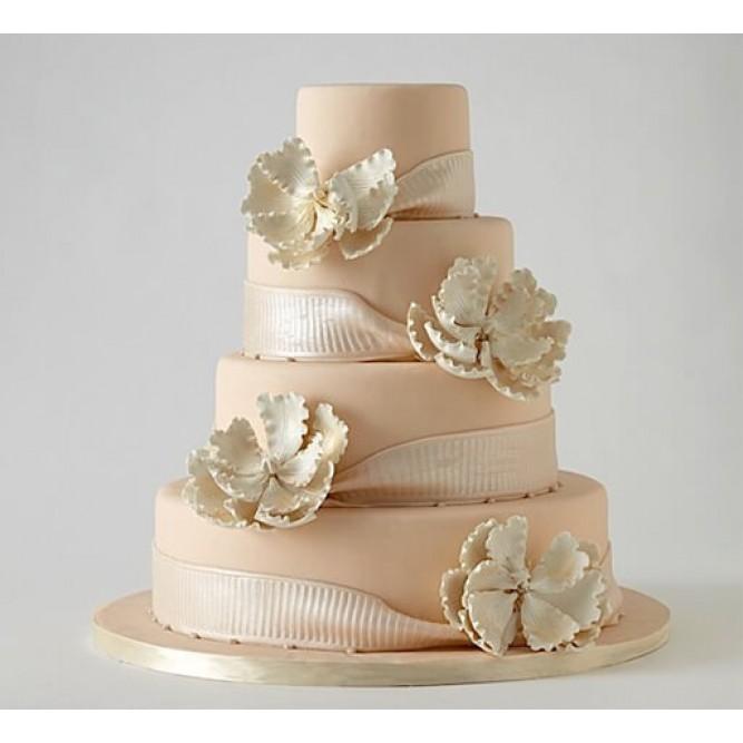 Торт с лентами и цветами №731