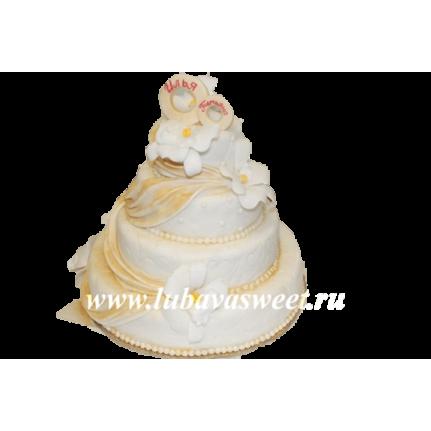 Торт свадебный кольца с орхидеями №232