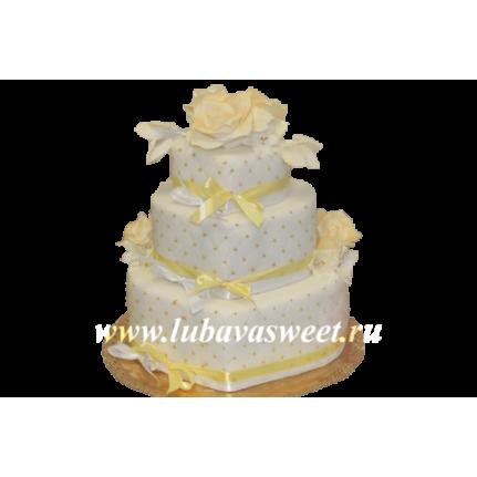 Торт свадебный розы на сердцах №204