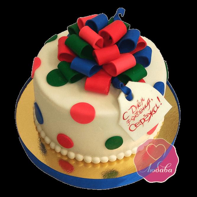Торт Круглый подарок с бантиком №1051