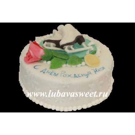Торт праздничный коньки с цветами №233