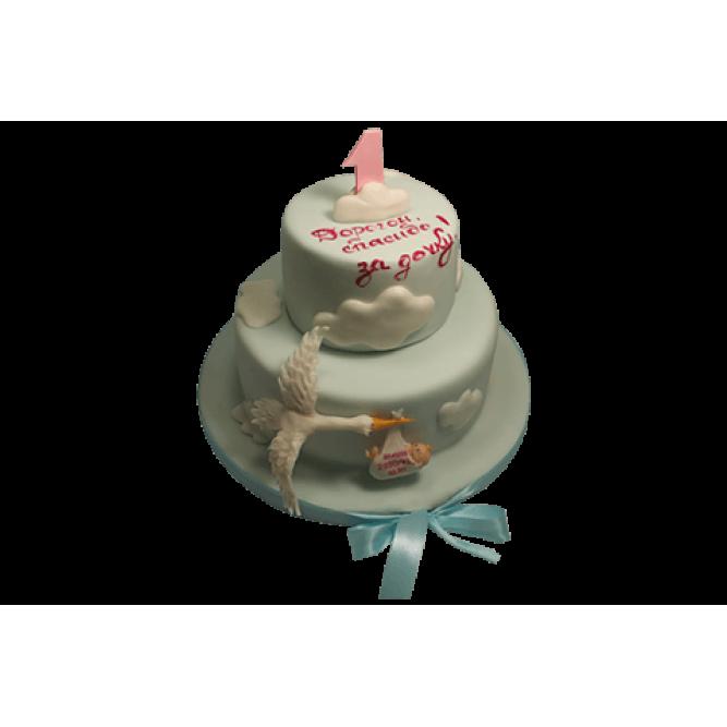Торт Аист с младенцем №439