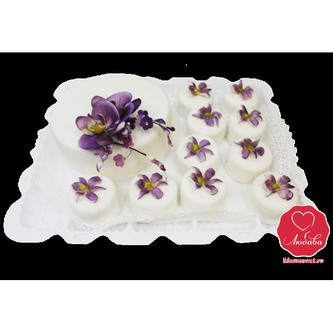 Торт свадебный капкейки с орхидеей №1093